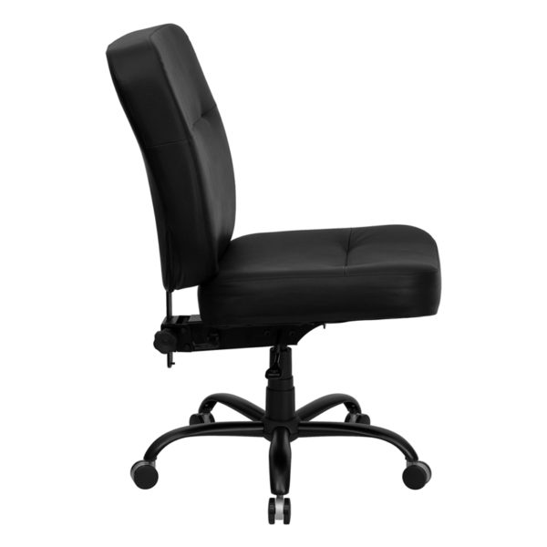 Lowest Price HERCULES Series Big & Tall 400 lb. Rated Black Leather Executive Swivel Ergonomic Office Chair with Rectangle Back