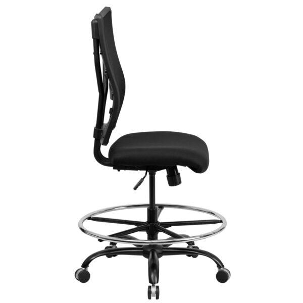 Lowest Price HERCULES Series Big & Tall 400 lb. Rated Black Mesh Ergonomic Drafting Chair
