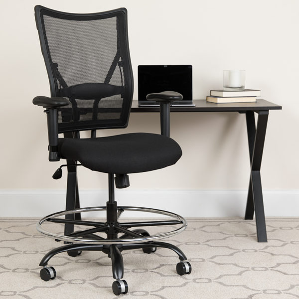 Lowest Price HERCULES Series Big & Tall 400 lb. Rated Black Mesh Ergonomic Drafting Chair with Adjustable Arms