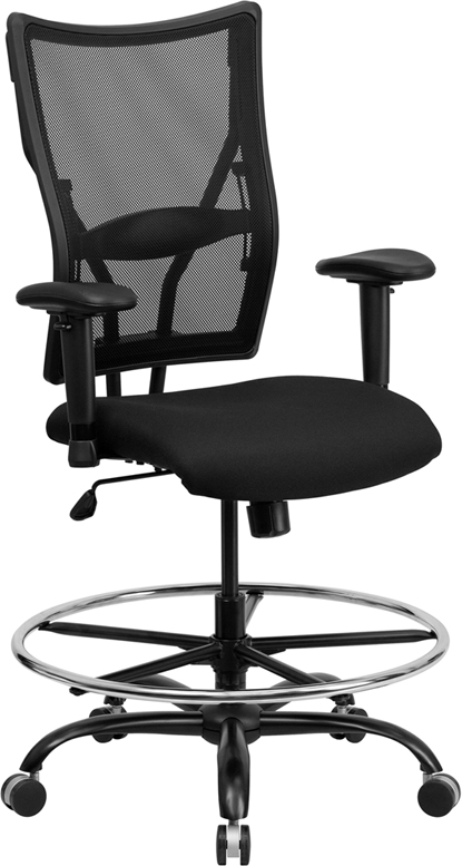 Wholesale HERCULES Series Big & Tall 400 lb. Rated Black Mesh Ergonomic Drafting Chair with Adjustable Arms