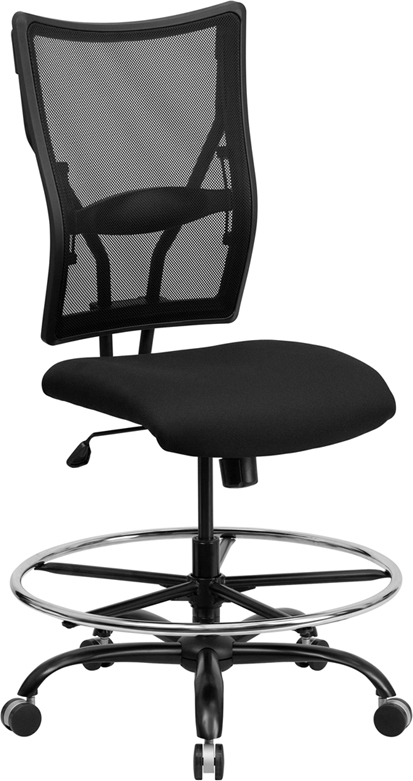 Wholesale HERCULES Series Big & Tall 400 lb. Rated Black Mesh Ergonomic Drafting Chair