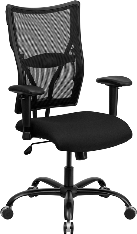 Wholesale HERCULES Series Big & Tall 400 lb. Rated Black Mesh Executive Swivel Ergonomic Office Chair with Adjustable Arms