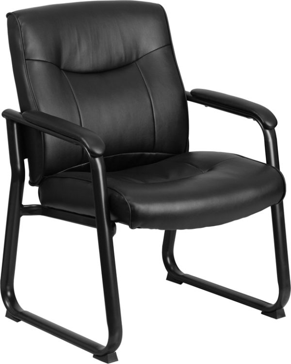 Wholesale HERCULES Series Big & Tall 500 lb. Rated Black Leather Executive Side Reception Chair with Sled Base
