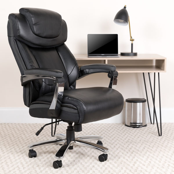 Lowest Price HERCULES Series Big & Tall 500 lb. Rated Black Leather Executive Swivel Ergonomic Office Chair with Adjustable Headrest
