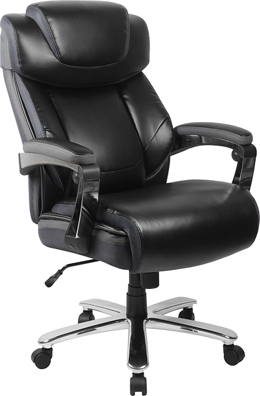 Wholesale HERCULES Series Big & Tall 500 lb. Rated Black Leather Executive Swivel Ergonomic Office Chair with Adjustable Headrest