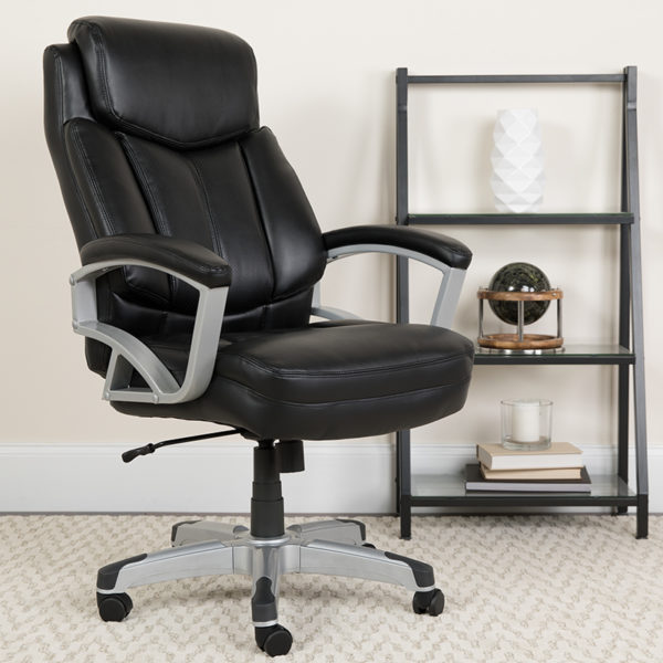 Lowest Price HERCULES Series Big & Tall 500 lb. Rated Black Leather Executive Swivel Ergonomic Office Chair with Arms