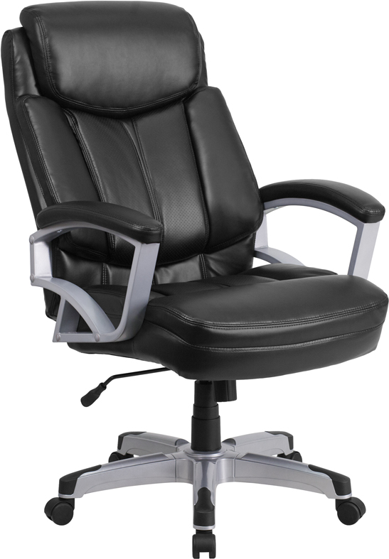 Wholesale HERCULES Series Big & Tall 500 lb. Rated Black Leather Executive Swivel Ergonomic Office Chair with Arms