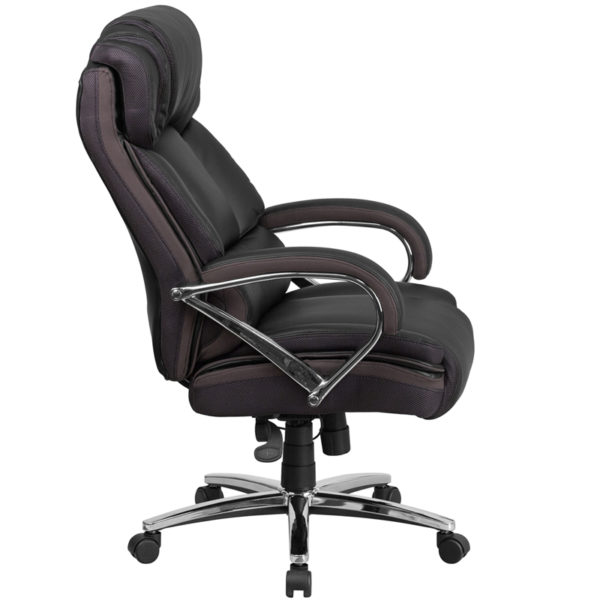 Lowest Price HERCULES Series Big & Tall 500 lb. Rated Black Leather Executive Swivel Ergonomic Office Chair with Chrome Base and Arms