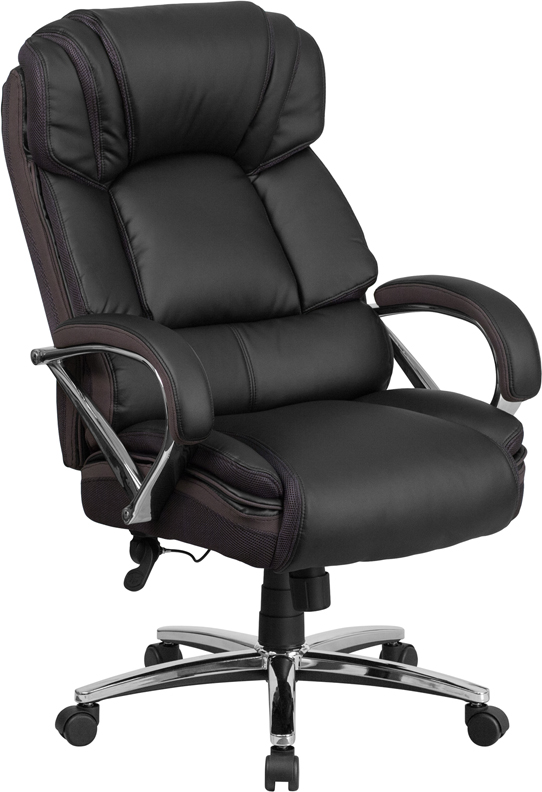 Wholesale HERCULES Series Big & Tall 500 lb. Rated Black Leather Executive Swivel Ergonomic Office Chair with Chrome Base and Arms