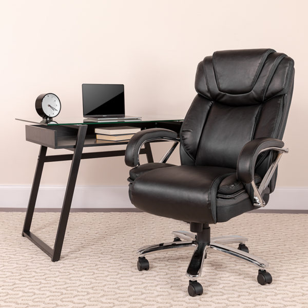 Lowest Price HERCULES Series Big & Tall 500 lb. Rated Black Leather Executive Swivel Ergonomic Office Chair with Extra Wide Seat