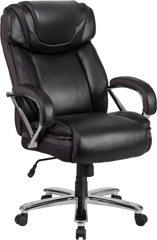 Wholesale HERCULES Series Big & Tall 500 lb. Rated Black Leather Executive Swivel Ergonomic Office Chair with Extra Wide Seat