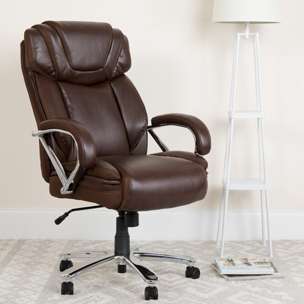 Lowest Price HERCULES Series Big & Tall 500 lb. Rated Brown Leather Executive Swivel Ergonomic Office Chair with Extra Wide Seat