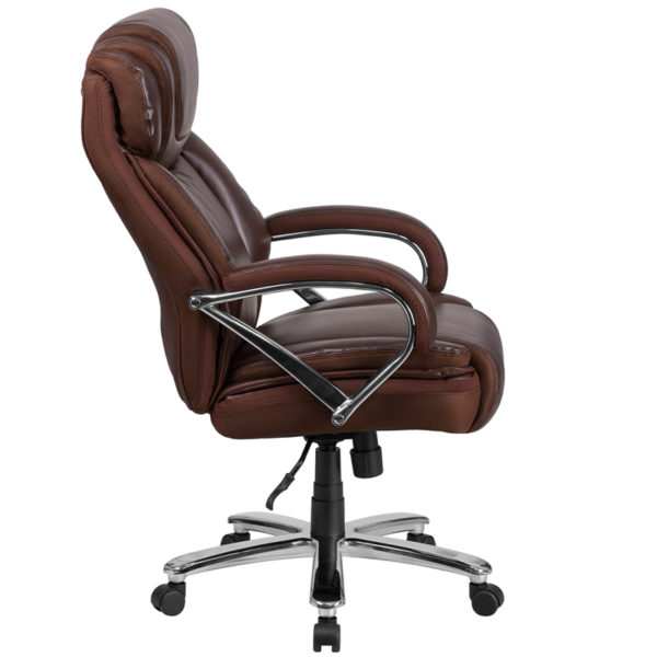 Contemporary Big & Tall Office Chair Brown 500LB High Back Chair