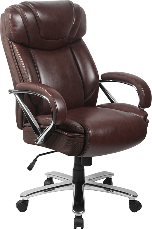 Wholesale HERCULES Series Big & Tall 500 lb. Rated Brown Leather Executive Swivel Ergonomic Office Chair with Extra Wide Seat