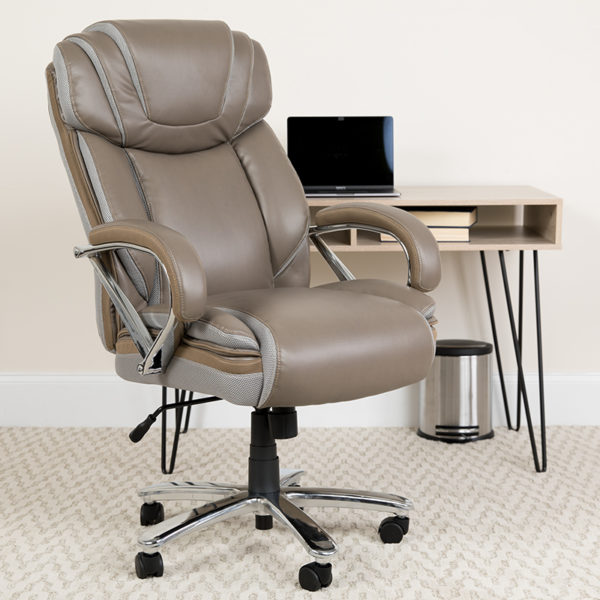 Lowest Price HERCULES Series Big & Tall 500 lb. Rated Taupe Leather Executive Swivel Ergonomic Office Chair with Extra Wide Seat