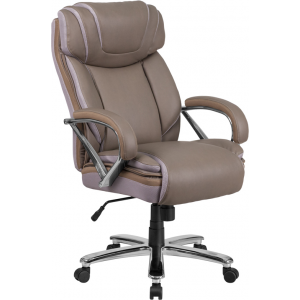 Wholesale HERCULES Series Big & Tall 500 lb. Rated Taupe Leather Executive Swivel Ergonomic Office Chair with Extra Wide Seat