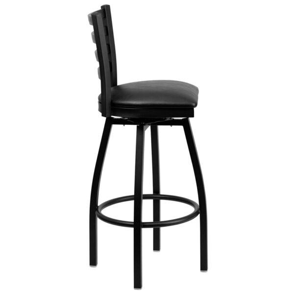 Lowest Price HERCULES Series Black Ladder Back Swivel Metal Barstool - Black Vinyl Seat