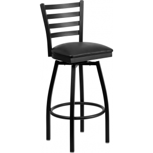 Wholesale HERCULES Series Black Ladder Back Swivel Metal Barstool - Black Vinyl Seat