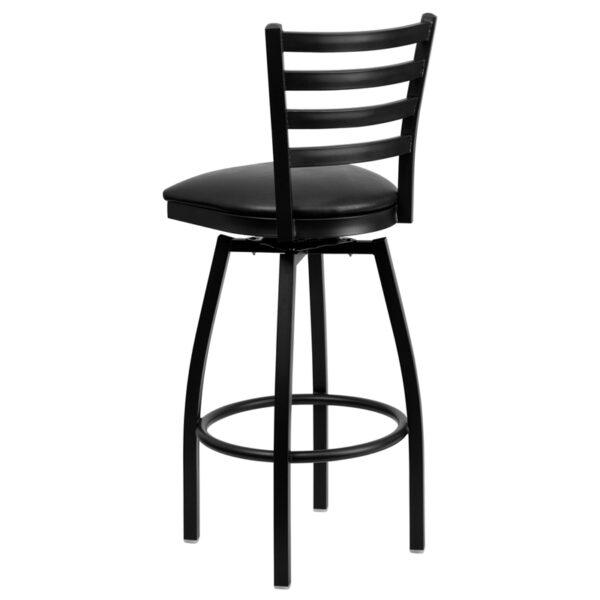 Metal Dining Bar Stool Black Ladder Stool-Black Seat
