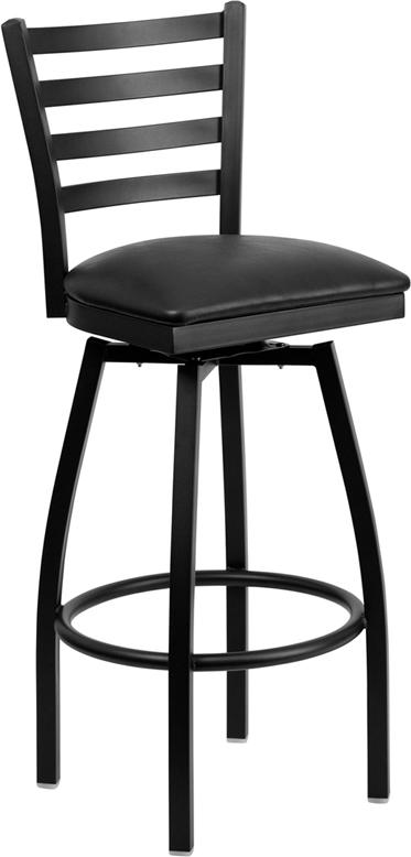Wholesale HERCULES Series Black Ladder Back Swivel Metal Barstool - Black Vinyl Seat