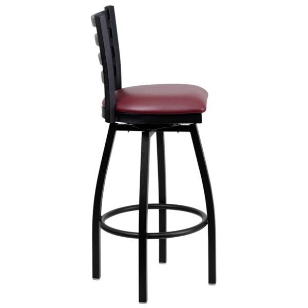 Lowest Price HERCULES Series Black Ladder Back Swivel Metal Barstool - Burgundy Vinyl Seat