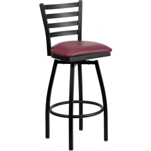 Wholesale HERCULES Series Black Ladder Back Swivel Metal Barstool - Burgundy Vinyl Seat
