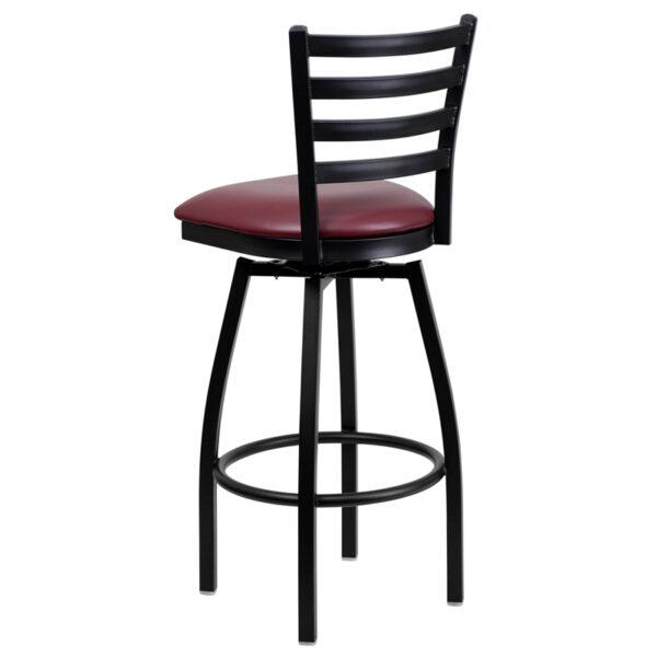 Metal Dining Bar Stool Black Ladder Stool-Burg Seat