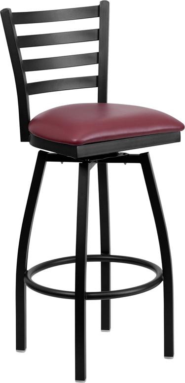 Wholesale HERCULES Series Black Ladder Back Swivel Metal Barstool - Burgundy Vinyl Seat