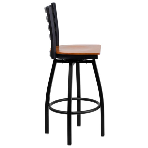 Lowest Price HERCULES Series Black Ladder Back Swivel Metal Barstool - Cherry Wood Seat