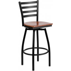 Wholesale HERCULES Series Black Ladder Back Swivel Metal Barstool - Cherry Wood Seat