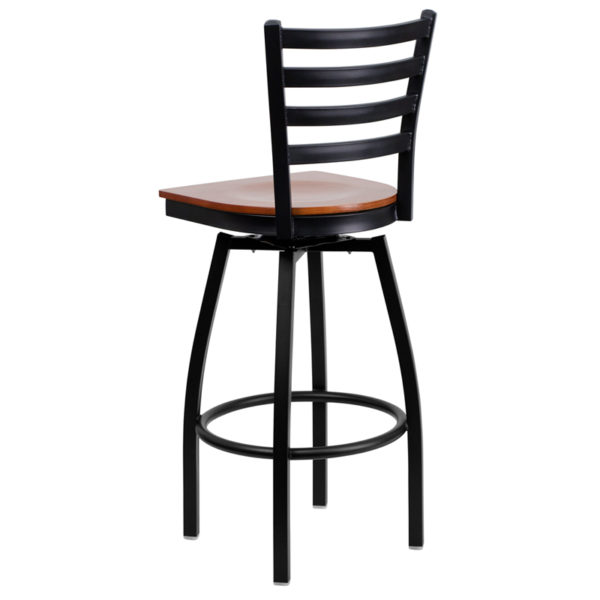 Metal Dining Bar Stool Black Ladder Stool-Cherry Seat