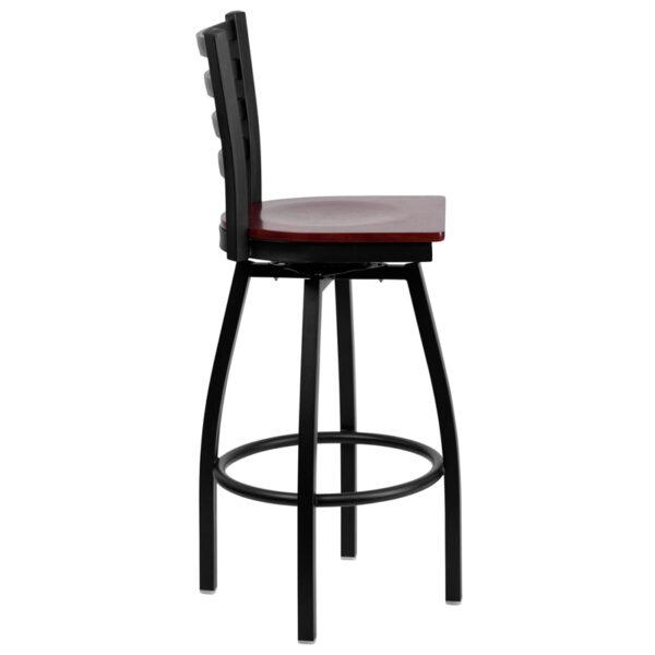Lowest Price HERCULES Series Black Ladder Back Swivel Metal Barstool - Mahogany Wood Seat