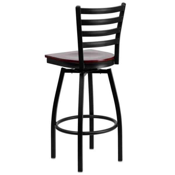 Metal Dining Bar Stool Black Ladder Stool-Mah Seat