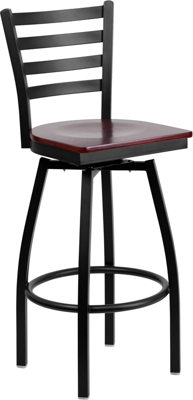 Wholesale HERCULES Series Black Ladder Back Swivel Metal Barstool - Mahogany Wood Seat