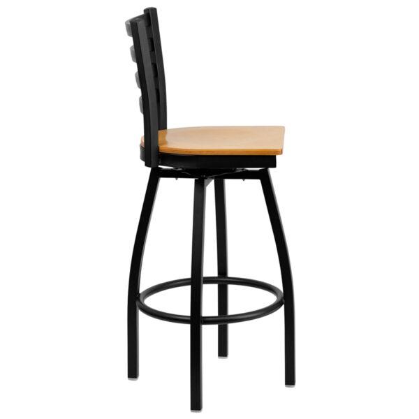 Lowest Price HERCULES Series Black Ladder Back Swivel Metal Barstool - Natural Wood Seat