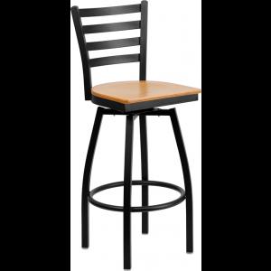 Wholesale HERCULES Series Black Ladder Back Swivel Metal Barstool - Natural Wood Seat