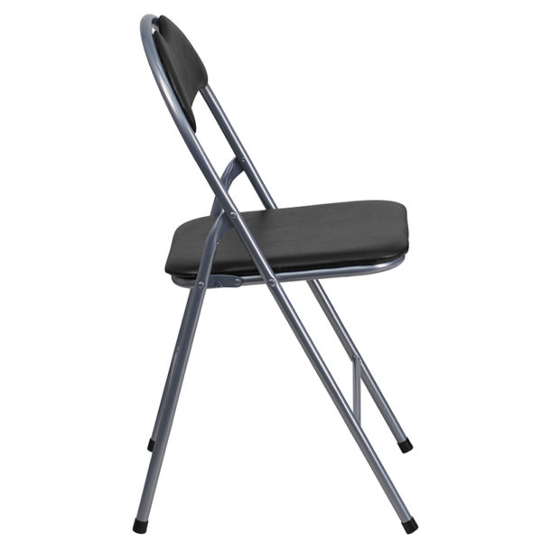 Padded Metal Folding Chair Black Vinyl Folding Chair
