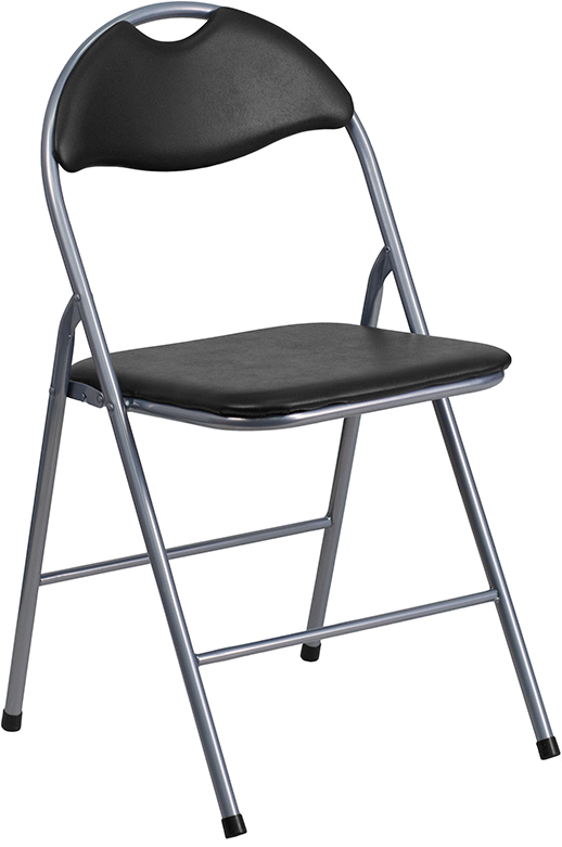 Wholesale HERCULES Series Black Vinyl Metal Folding Chair with Carrying Handle