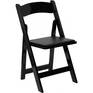 Wholesale HERCULES Series Black Wood Folding Chair with Vinyl Padded Seat
