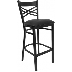 Wholesale HERCULES Series Black ''X'' Back Metal Restaurant Barstool - Black Vinyl Seat