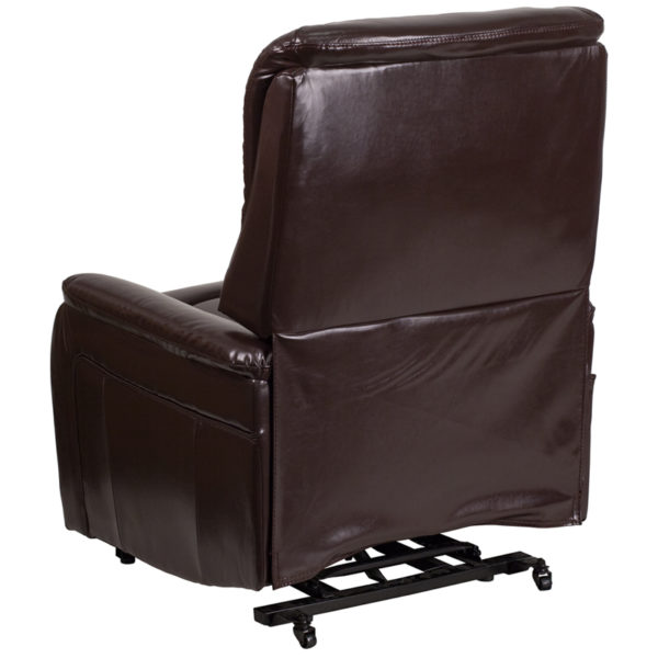 Contemporary Style Brown Leather Lift Recliner