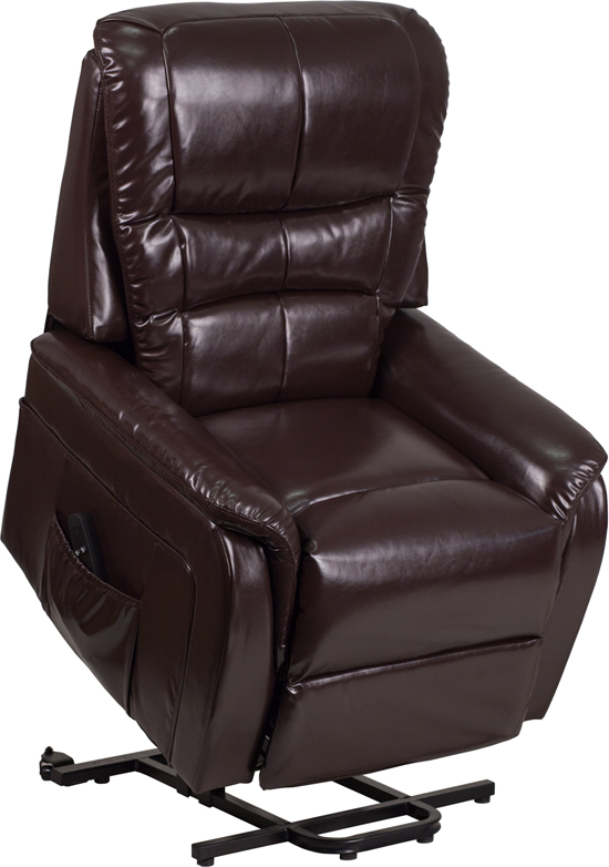 Wholesale HERCULES Series Brown Leather Remote Powered Lift Recliner