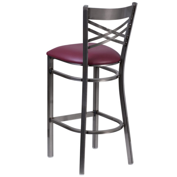 Metal Dining Bar Stool Clear X Stool-Burg Seat