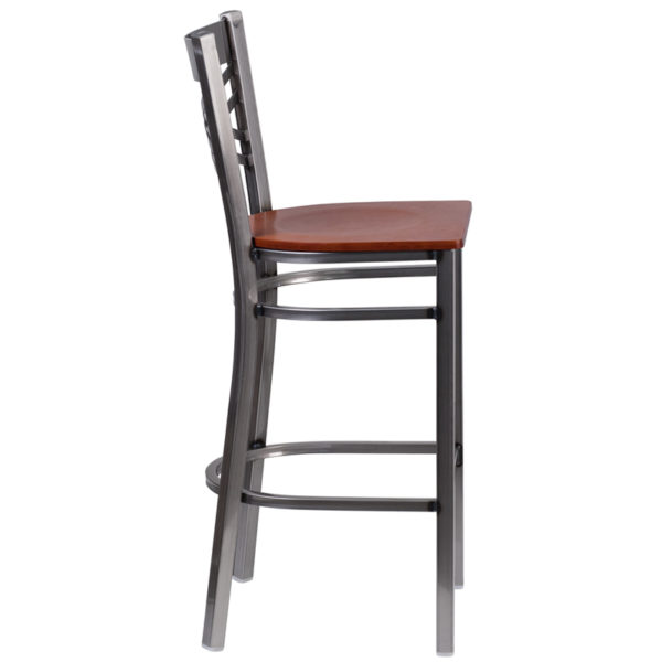 Lowest Price HERCULES Series Clear Coated ''X'' Back Metal Restaurant Barstool - Cherry Wood Seat