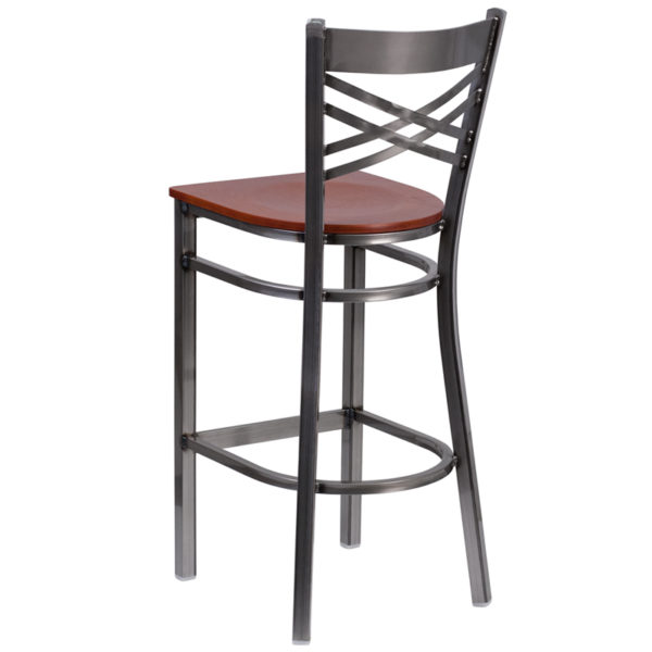 Metal Dining Bar Stool Clear X Stool-Cherry Seat