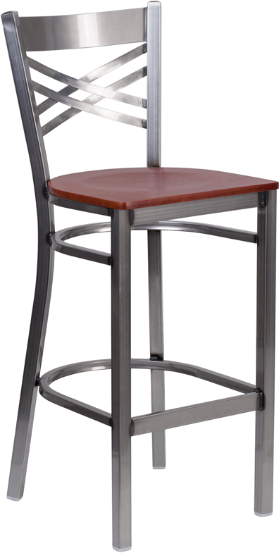 Wholesale HERCULES Series Clear Coated ''X'' Back Metal Restaurant Barstool - Cherry Wood Seat