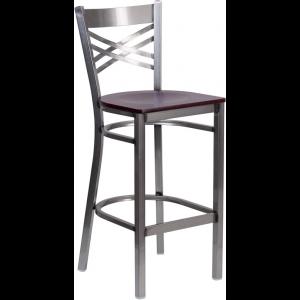 Wholesale HERCULES Series Clear Coated ''X'' Back Metal Restaurant Barstool - Mahogany Wood Seat