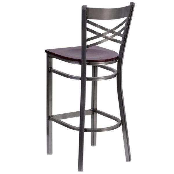 Metal Dining Bar Stool Clear X Stool-Mah Seat