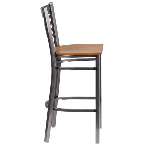 Lowest Price HERCULES Series Clear Coated ''X'' Back Metal Restaurant Barstool - Natural Wood Seat