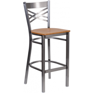 Wholesale HERCULES Series Clear Coated ''X'' Back Metal Restaurant Barstool - Natural Wood Seat